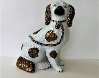 "Large Vintage Stafforshire ceramic Mantle dog, Wally dog, white and bronze, 9"", ceramic Spaniel figurine, English Country,  gift idea"