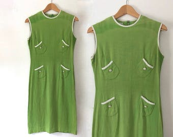 vintage 60s lime green mod dress green dress 60s mod dress sleeveless dress with cool pockets and white piping mod dress small 1960s dress S