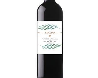 Printable Cheers! Wedding Date Wine Labels, Garden Wedding, Greenery Custom Wine Labels, Digital File, Personalized Wine Label - Waverly