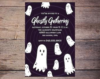 Ghostly Gathering Halloween Invitation, Halloween Party Invitation, Halloween Invites, Costume Party, Adult Halloween Party Printable Invite