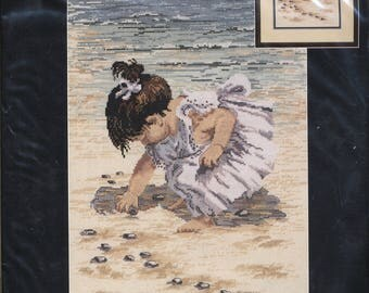 Toddler Collecting Seashells Counted Cross Stitch Kit UNOPENED