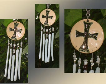 Mini Templar Cross Glass Wind Chime Pewter White Ceramic Mobile Pottery Chimes Window Suncatcher Patio Garden Ornament
