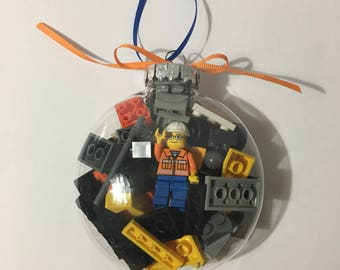 Construction worker mini figure ornament with Lego® bricks and other building bricks and minifigure Christmas tree ornament