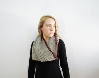 Gray Circle Scarf. Cowl Scarf. Crochet Circle Scarf. Knit Gray Scarf. Crochet Cowl Scarf. Gray and Red Womens Cowl Scarf. Loop Scarf
