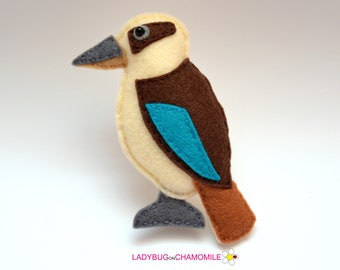 Felt KOOKABURRA,stuffed felt Kookaburra magnet or ornament,beautiful bird,bird toy, Australian animals, home decor, Nursery decor, Aussie,
