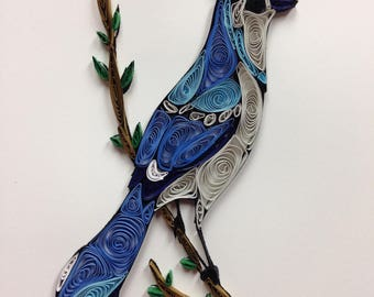 Quilling, quilled art, blue jay, bird, framed art 8x10