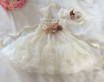 Lace Flower Girl Dress & Flowers SASH, Brown/Ivory champagne flowers Christening Wedding, Country Ruffle Dress Rustic Chiffon Flower Girl