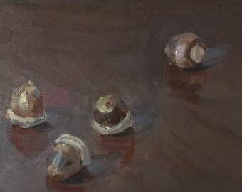 "Acorns, 5""x7"" oil painting on panel, unframed"