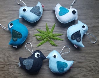 Felt Bird Party, Colorful Ornaments, Set of Six, Themed Party, Friendly Birds, Baby Decor, Cute Summer Finds, Woodland Gifts