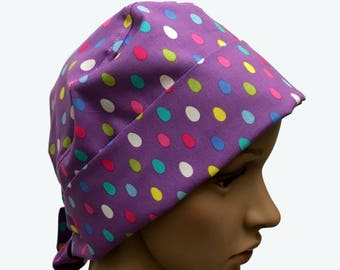 Pixie Scrub Hat - Easter Colorful Eggs on Purple Pixie Scrub Hat-Pixie Tie-back Scrub Hat - Surgical Scrub Hat - Vet Tech Scrub Hat - Custom