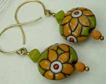 Floral ceramic earrings, brightly coloured earrings, orange earrings, festival earrings, gift for gardener, gift for florist, made in Wales
