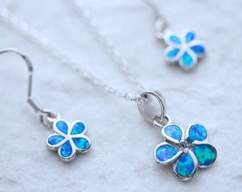 Blue Opal Flower Necklace and Earrings Set. Sterling Flower Necklace, Silver Flower Earrings. Blue Opal necklace. Lab Blue Opal. ChooseChain
