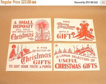 ON SALE 4 vintage paper christmas signs from department store, gifts advertising