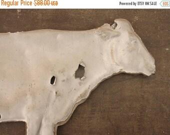 ON SALE antique original zinc hollow body cow weathervane w/ bullet holes, folk art, americana