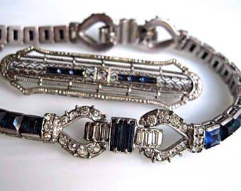Sterling Vintage Deco Tennis Bracelet, Channel Set Deep Blue Glass Squares, Rhinestone Buckle Design, Signed OTIS, Matching Filigree Brooch
