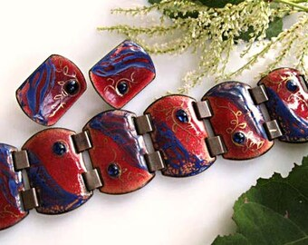 Copper Enamel Mid Century Modern Bracelet Earrings, Russet Reds Cobalt Blue Cabs, Metallic Gold Leaf Vines Large Links, Artisan Signed