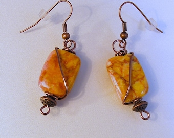 Yellow Jasper Copper Wrap Earrings