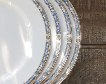 Grindley Blue White Dinner Plates Set of 4,  Wedding Plates, Table Settings, Cottage Style Plates,Replacement China
