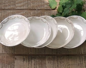 Knowles White and Gold Garland Dessert Bowls Set of 5 Wedding China Berry Bowls Sauce Bowls Replacement China