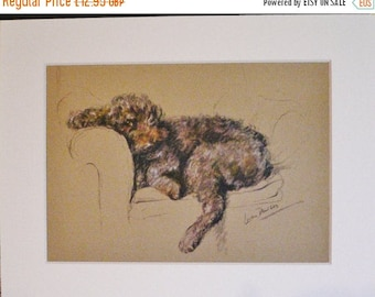 SALE POODLE PRINT Signed mounted 1946 Lucy Dawson Mac Poodle lazing around dog plate print Unique Christmas Thanksgiving Birthday dog lover