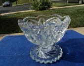 Small footed pressed clear glass compote /swirl pattern