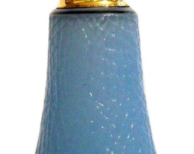 Vintage 1920s DeVilbiss Cut Glass Art Deco Colonial Blue Enamel Cracked Ice Perfume Dauber Bottle