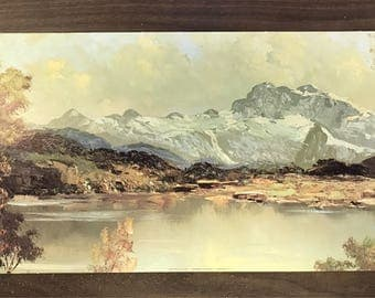 """Large Fine Art Lithograph by Gellman """"Mountain View"""" by B Gerhart. 12""""x24"""""""