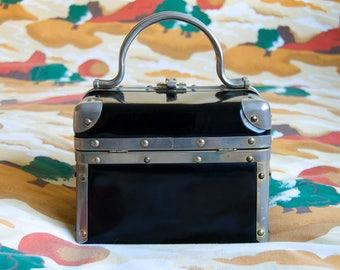 Black Betty - black box purse - black train case - Borsa Bella Italy - black patent leather purse - patent leather box purse - 80s box purse
