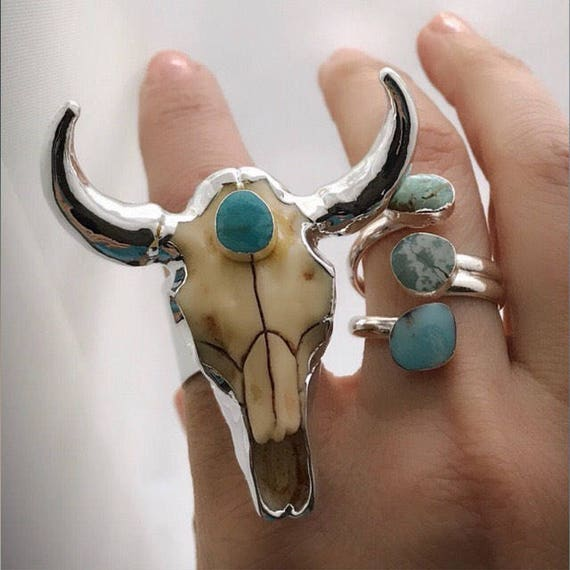 Longhorn Ring, Statement Rings, Boho Jewelry, birthstone turquoise ring