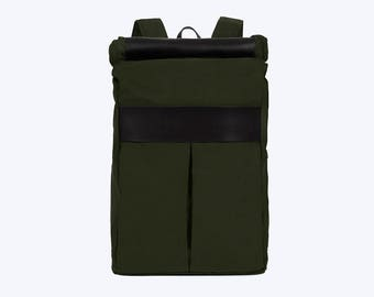 No. 7 Roll Top Backpack Green, Green Large Backpack, Weekend Backpack, Large Backpack, Large Commuter Laptop Backpack, Green Canvas Roll Top