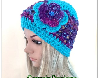 Ooak Unique designer womens teens hand crocheted knitted beanie hat rainbow multicolour flower hippie handmade irish winter fall