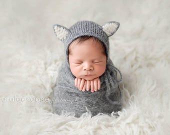 Newborn knit wrab and wolf bonnet Newborn animal hat Newborn photography prop Gray wolf hat Brushed alpaca wrap Animal hat photography prop