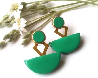 Ear Jackets Green Modern Art Deco Front and Back Earring Jackets FREE UK SHIPPING