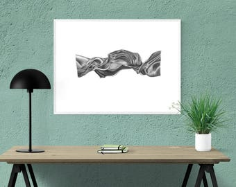 Twisted Satin ~ Original Charcoal Drawing, Framed and Ready to Hang
