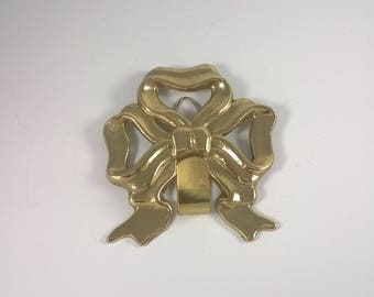 Vintage Brass Bow Hook - Golden Wall Hanging Ribbon - Christmas Accents Decor