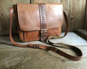 Sienna Brown Leather Handbag, Satchel, Crossbody Saddle Bag, Cartridge Bag