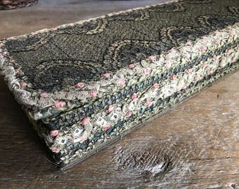 French Boudoir Glove Box, Pink Roses, Lace, Floral Fabric Covered Sewing Box