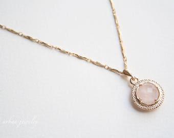 Rose Quartz necklace, Rose Quartz jewelry, Delicate stone necklace, Dainty long necklace, Long stone necklace, Valentine necklace