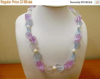 ON SALE Vintage Frosted Blue and Purple Molded Plastic Floral Beaded Necklace Item K # 2031