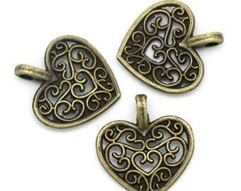 20 bronze metal hearts charms pendants