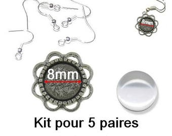 Kit 5 pairs earrings with 8mm glass cabochon