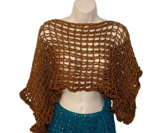 Brown Shrug, Crochet Bolero, Brown Vest, Crochet Brown Sweater, Plus Size Capelet, Womens Sweater, Brown Dolman, Cropped Vest