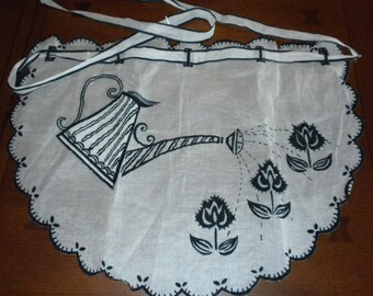 vintage half apron white organdy black flocking watering can spring flowers black white