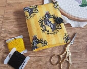 Harry Potter Hufflepuff themed needle book, needle case, holder, storage, embroidery gift