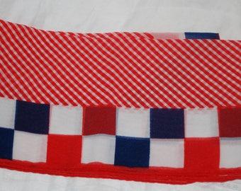 vintage scarf nylon/chiffon red, white , blue, retro, rockabilly 50's 60's