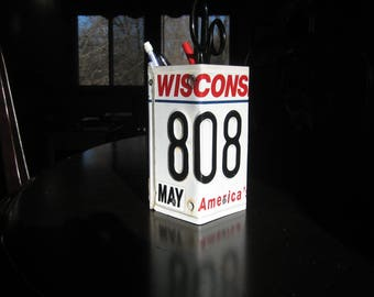 Hand Made Wisconsin License Plate Pencil Holder