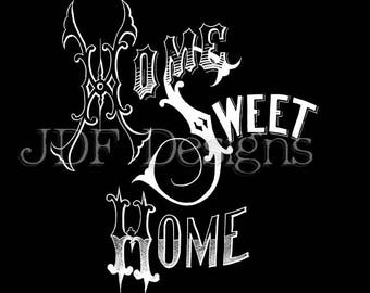 Instant Digital Download, Antique Victorian Graphic, Home Sweet Home Chalkboard Text Lettering, Printable Image, Scrapbook, Typography Sign