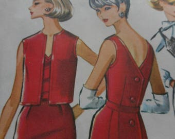 Vintage 1960's McCall's 7025 Dress or Jumper, Blouse and Sleeveless Jacket Sewing Pattern Size 16 Bust 36