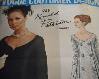 Vintage 1960's Vogue 1758 Couturier Design Ronald Paterson of London Dress Sewing Pattern Size 10 Bust 31