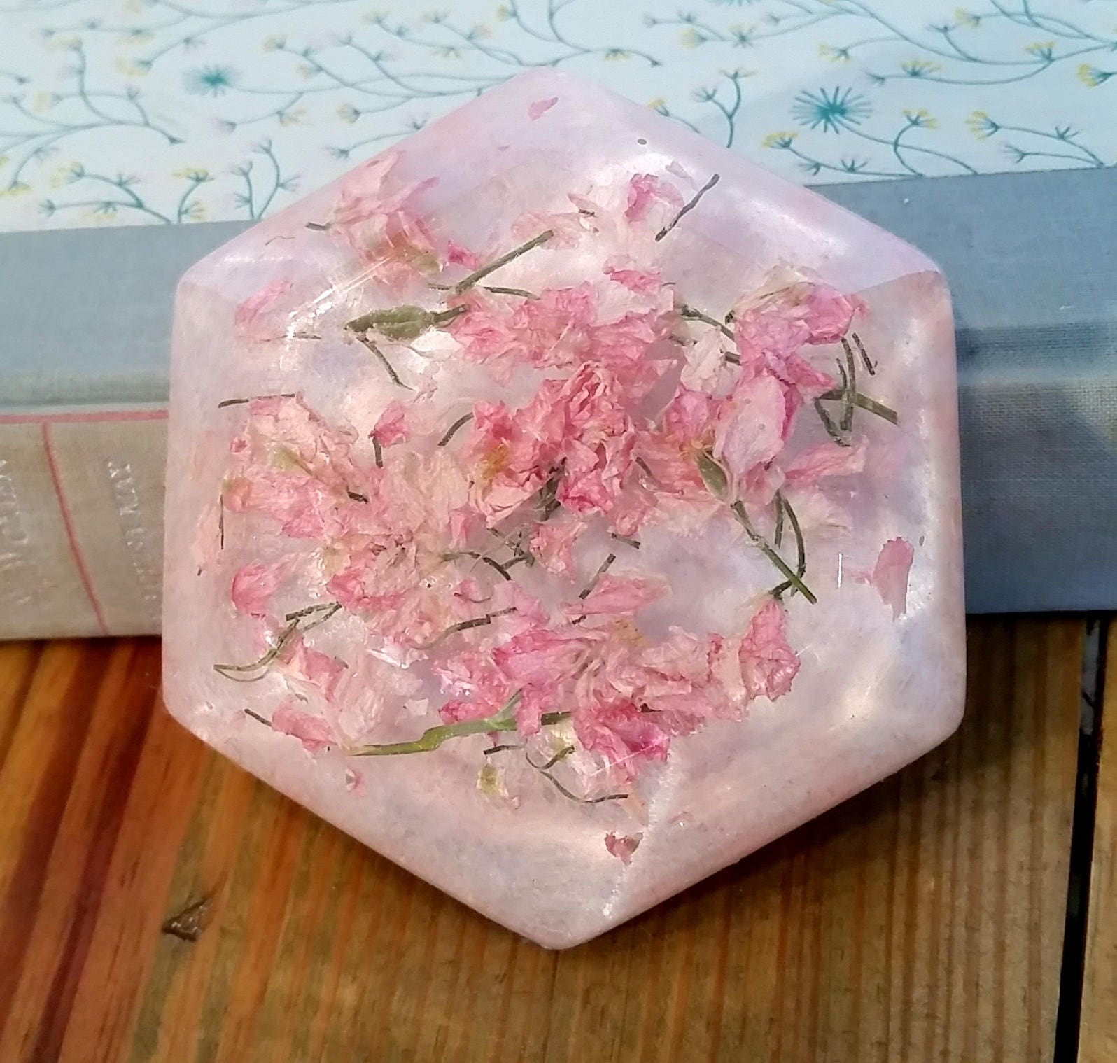 Dried Pink Larkspur Paperweight Pressed Flower Resin Paperweight